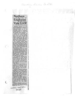 Northern Employees Vote UAW
