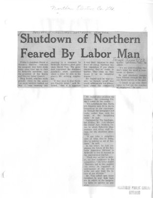 Shutdown of Northern Feared by Labor Man