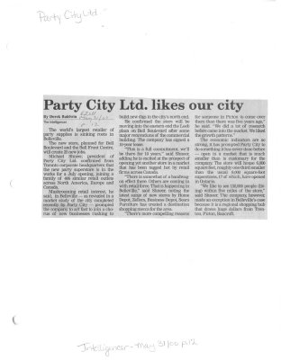 Party City Ltd. likes our city