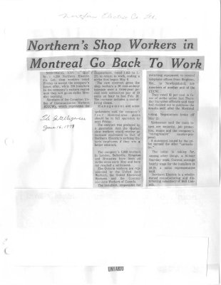 Northern's Shop Workers in Montreal Go Back To Work