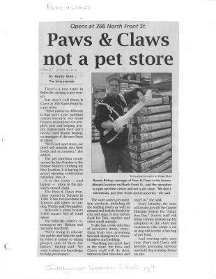 Paws & Claws not a pet store