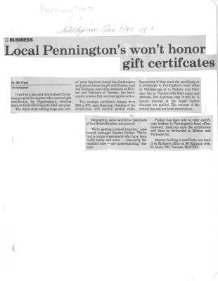 Local Pennington's won't honor gift certificates