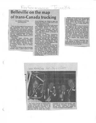 Belleville on the map of trans-Canada trucking