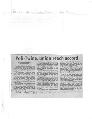Poli-Twine, union reach accord