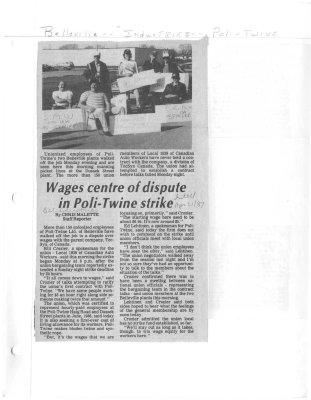 Wages centre of dispute in Poli-Twine strike