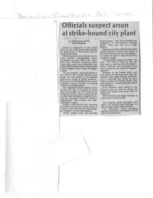 Officials suspect arson at strike-bound city plant