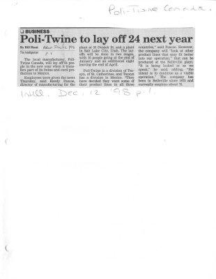 Poli-Twine to lay off 24 next year