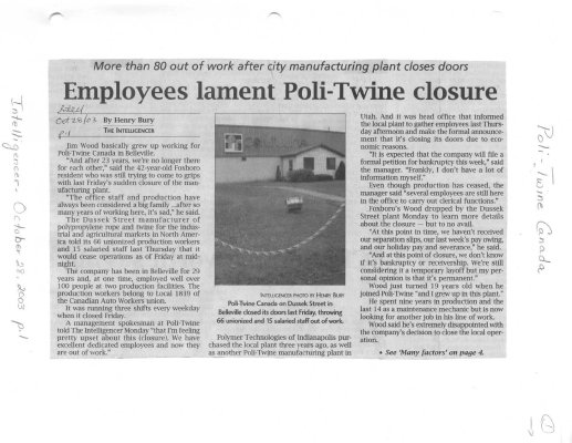 Employees lament Poli-Twine closure