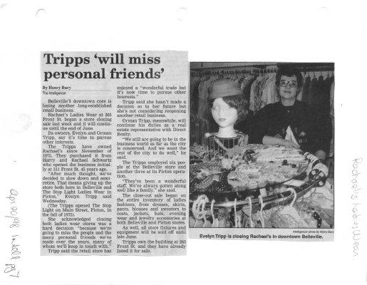 Tripps will miss personal friends