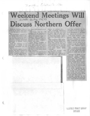 Weekend Meetings Will Discuss Northern Offer
