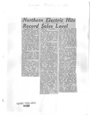 Northern Electric Hits Record Sales Level