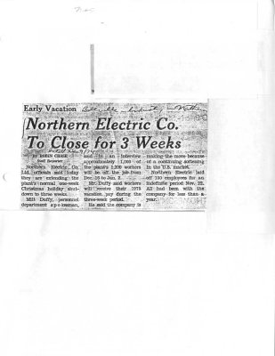 Northern Electric Co. To Close for 3 Weeks