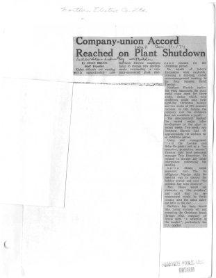 Company-union Accord Reached on Plant Shutdown