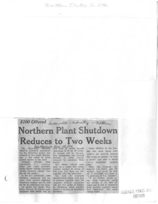 Northern Plant Shutdown Reduces to Two Weeks
