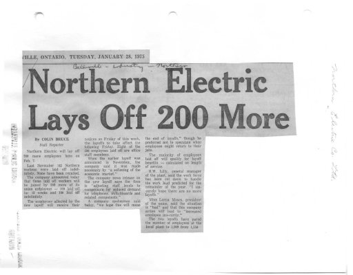 Northern Electric Lays Off 200 More