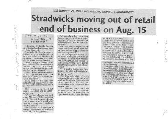 Stradwicks moving out of retail end of business on Aug. 15