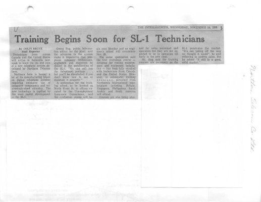 Training Begins Soon for SL-1 Technicians