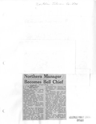 Northern Manager Becomes Bell Chief