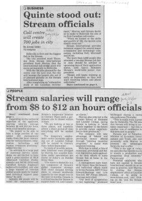 Quinte stood out: Stream officials