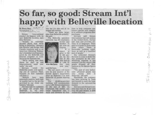 So far, so good: Stream Int'l happy with Belleville location