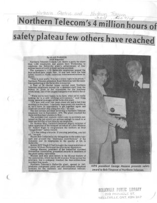 Northern Telecom's 4 million hours of safety plateau few others have reached
