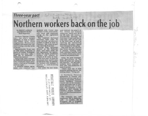 Northern workers back on the job