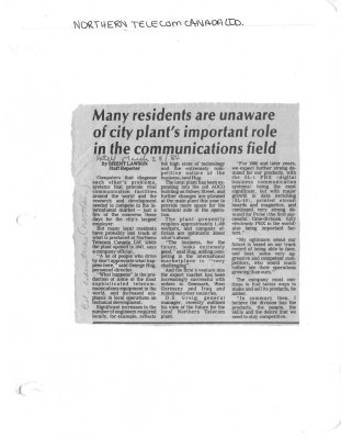 Many residents are unaware of city plant's important role in the communications field