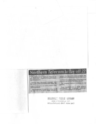 Northern Telecom to lay off 22