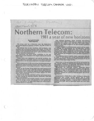 Northern Telecom: 1981 a year of new horizons