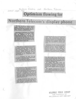 Optimism flowing for Northern Telecom's display phone
