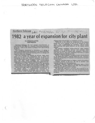 1982 a year of expansion for city plant