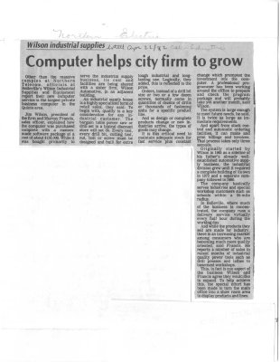 Computer helps city firm to grow
