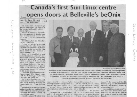 Canada's first Sun Linux centre opens doors at Belleville's beOnix