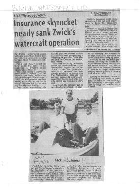 Insurance skyrocket nearly sank Zwick's watercraft operation