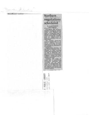 Northern negotiations scheduled