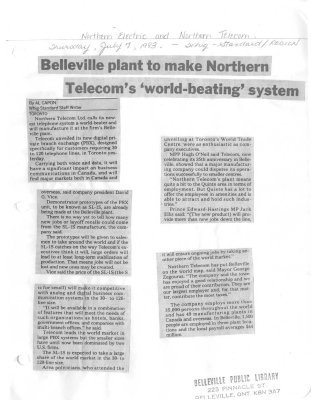Belleville plant to make Northern Telecom's 'world-beating' system