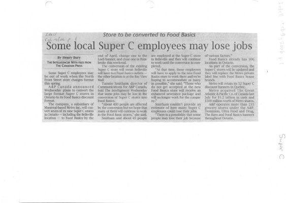 Some local Super C employees may lose jobs