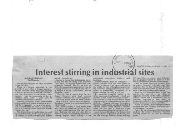 Interest stirring in industrial sites