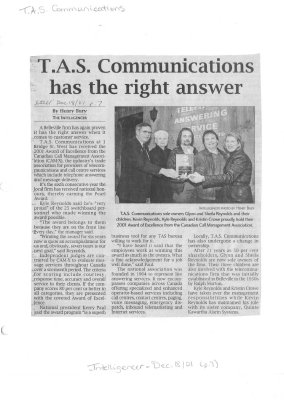 T.A.S. Communications has the right answer