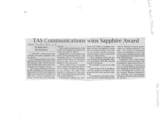 TAS Communications wins Sapphire Award