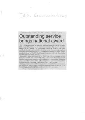 Outstanding service brings national award