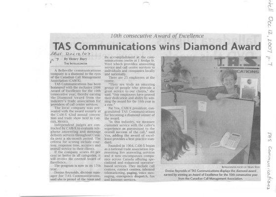 TAS Communications wins Diamond Award