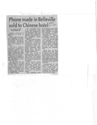 Phone made in Belleville sold to Chinese Hotel