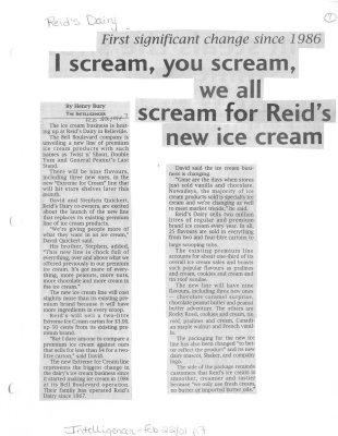 I scream, you scream, we all scream for Reid's new ice cream