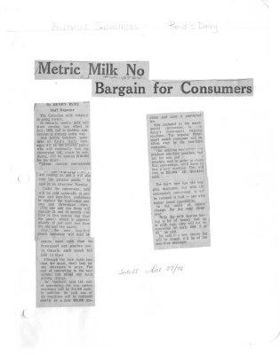 Metric milk to bargain for consumers