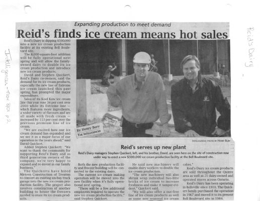 Reid's finds ice cream means hot sales
