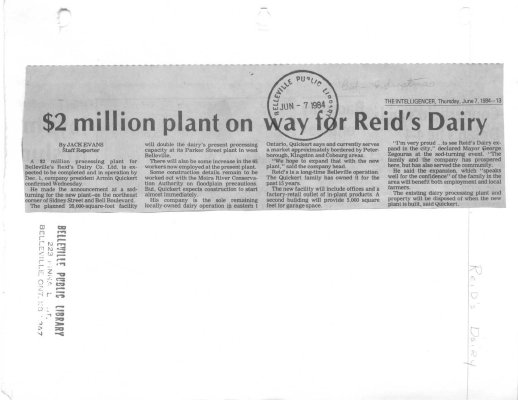 $2 million plant on way for Reid's Dairy