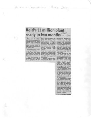 Reid's $2 million plant ready in two months