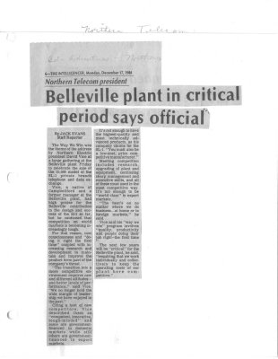 Belleville plant in critical period says official