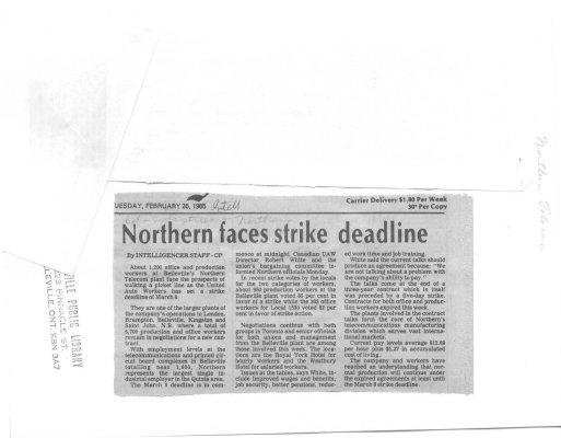 Northern faces strike deadline